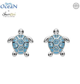 EARRINGS OCEANS STERLING MINI TURTLE STUD EARRINGS with AQUA SWAROVSKI CRYSTALS
