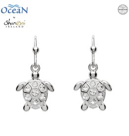 EARRINGS OCEANS STERLING MINI TURTLE DROP EARRINGS with SWAROVSKI CRYSTALS