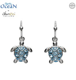 EARRINGS OCEANS STERLING MINI TURTLE DROP EARRINGS with AQUA SWAROVSKI CRYSTALS