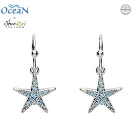 EARRINGS OCEANS STERLING MINI STARFISH DROP EARRINGS with AQUA SWAROVSKI CRYSTALS