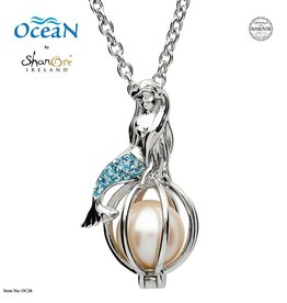 PENDANTS & NECKLACES OCEANS STERLING MERMAID PENDANT with PEARL & SWAROVSKI CRYSTALS