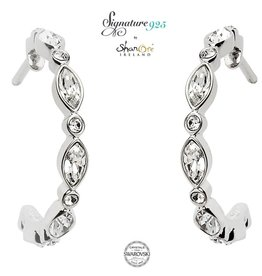 EARRINGS SIGNATURE 925 - MARQUISE & ROUND EARRINGS with SWAROVSKI CRYSTALS