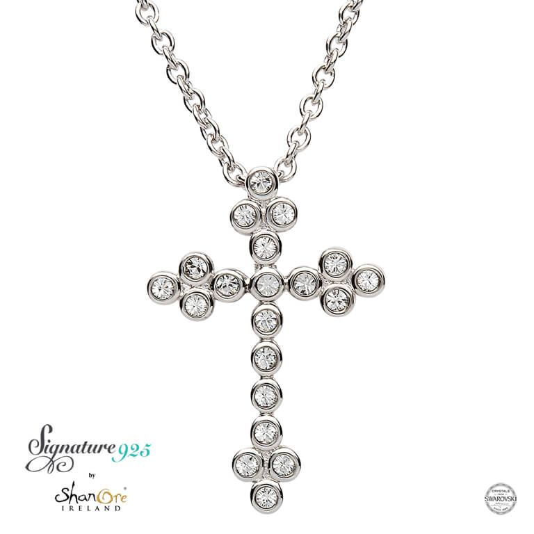 CROSSES SIGNATURE 925 - CLUSTER CROSS PENDANT with SWAROVSKI CRYSTALS