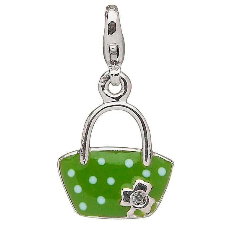 CHARMS CLEARANCE - LITTLE MISS STERLING PURSE CHARM with REAL DIAMOND - FINAL SALE