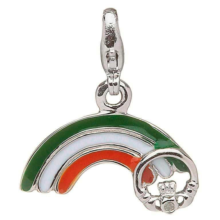 CHARMS CLEARANCE - LITTLE MISS STERLING RAINBOW CHARM with REAL DIAMOND - FINAL SALE