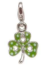 CHARMS CLEARANCE - LITTLE MISS STERLING SHAMROCK CHARM with REAL DIAMOND - FINAL SALE