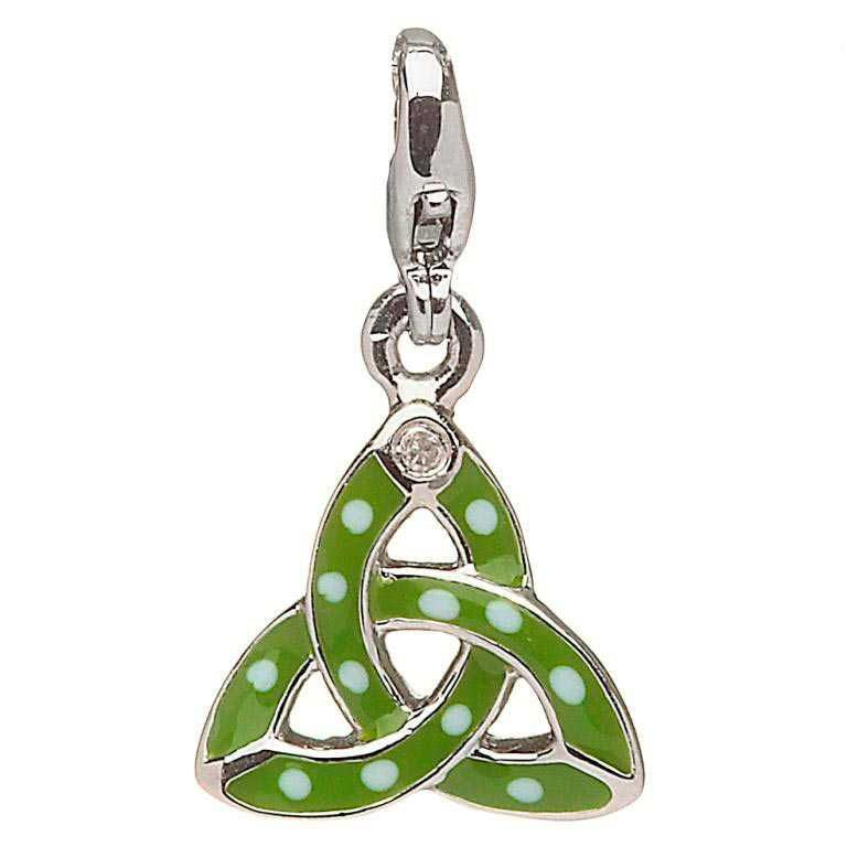 CHARMS CLEARANCE - LITTLE MISS STERLING TRINITY  CHARM with REAL DIAMOND - FINAL SALE