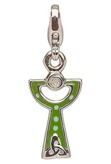 CHARMS CLEARANCE - LITTLE MISS STERLING GREEN CHALICE CHARM with REAL DIAMOND - FINAL SALE