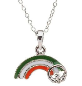 PENDANTS & NECKLACES CLEARANCE - LITTLE MISS STERLING RAINBOW PENDANT with CLADDAGH - FINAL SALE