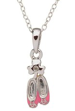 PENDANTS & NECKLACES CLEARANCE - LITTLE MISS STERLING PINK DANCE SHOES PENDANT - FINAL SALE