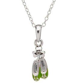 PENDANTS & NECKLACES CLEARANCE - LITTLE MISS STERLING GRN DANCE SHOES PENDANT - FINAL SALE