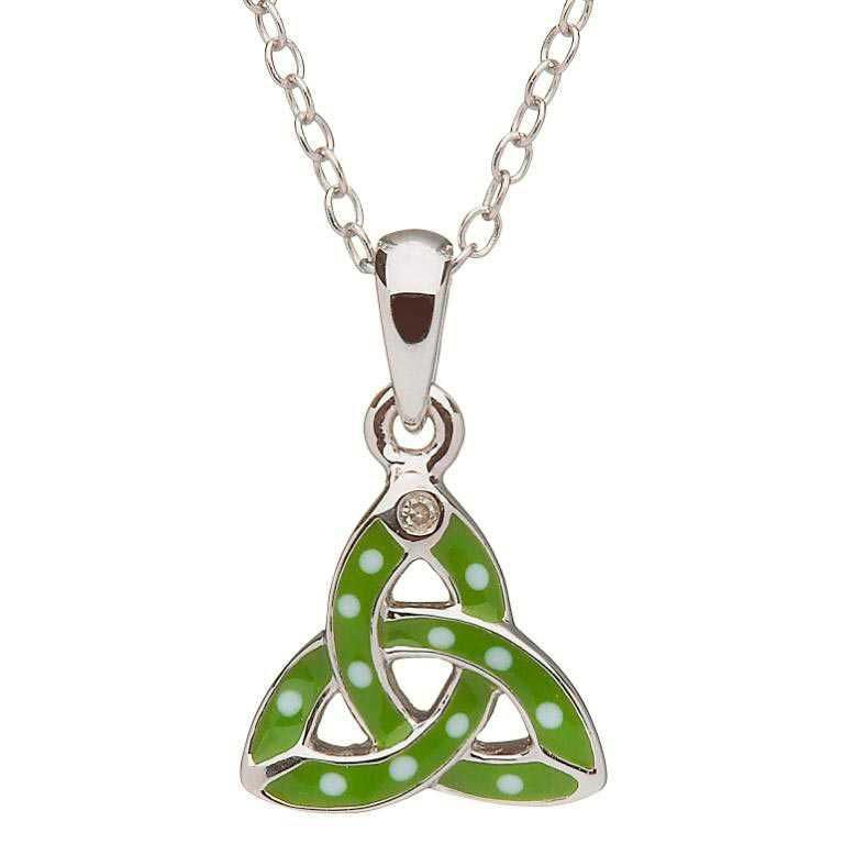 PENDANTS & NECKLACES CLEARANCE - LITTLE MISS STERLING GREEN TRINITY PENDANT - FINAL SALE