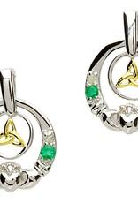 EARRINGS CLEARANCE - SHANORE STERLING DIAMOND & EMERALD CLADDAGH TRINITY EARRINGS - FINAL SALE