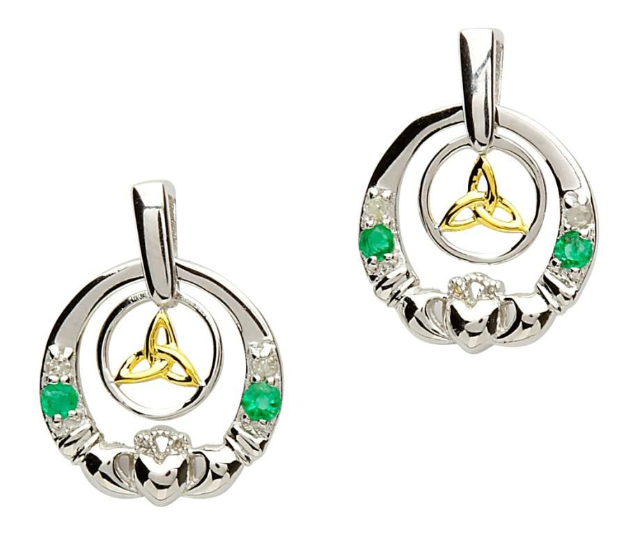 EARRINGS CLEARANCE - SHANORE STERLING DIAMOND & EMERALD CLADDAGH TRINITY EARRINGS - FINAL SALE