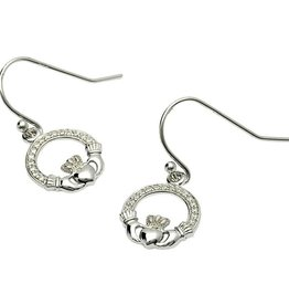 EARRINGS CLEARANCE - SHANORE STERLING CLADDAGH PAVE DROP EARRINGS - FINAL SALE