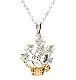 PENDANTS & NECKLACES CLEARANCE - SHANORE STERLING & GP SHAMROCK BASKET PENDANT - FINAL SALE