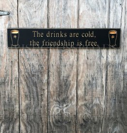 "PLAQUES & GIFTS PINT ""DRINKS ARE COLD..."" CARVED WOOD SIGN"