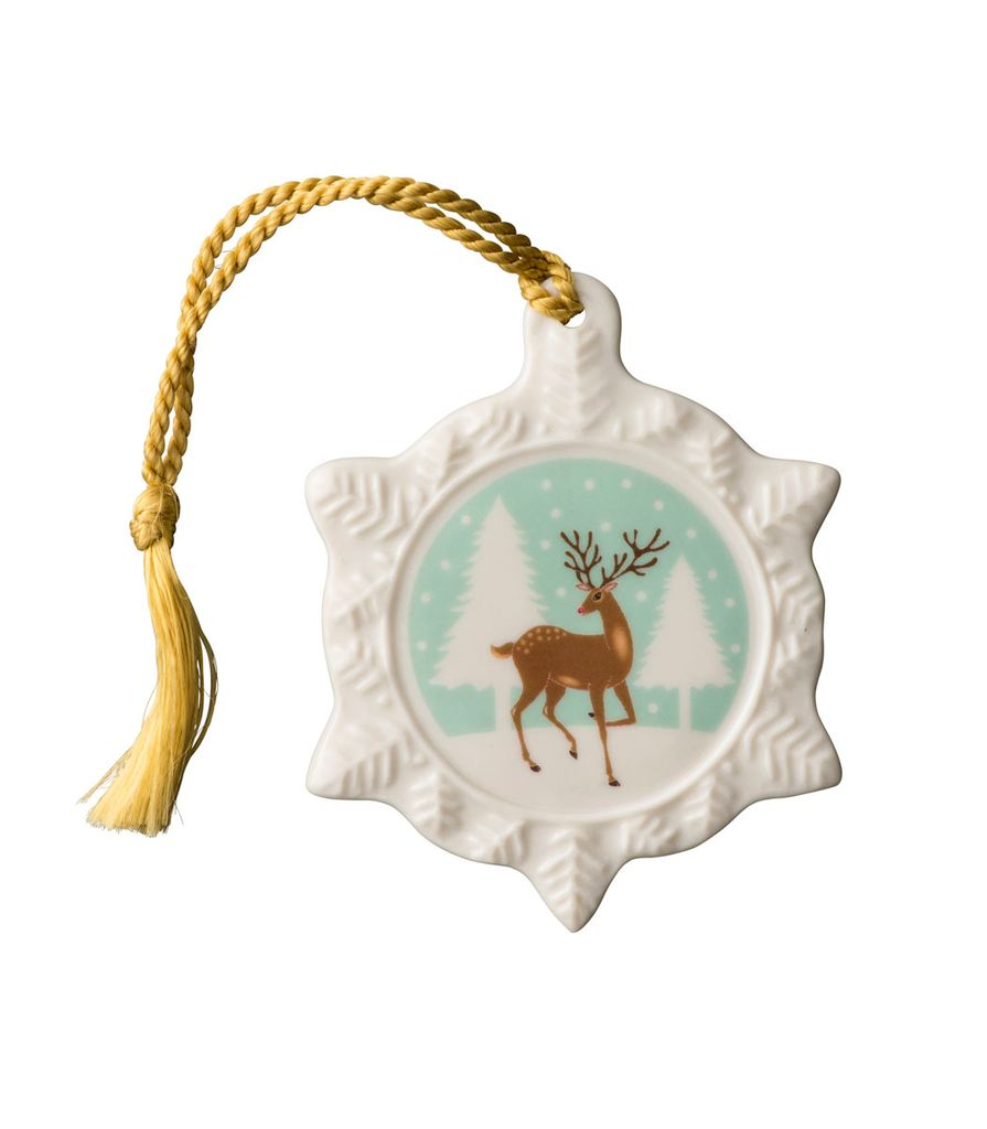 ORNAMENTS BELLEEK REINDEER SNOWFLAKE ORNAMENT