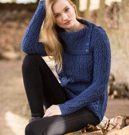 SWEATERS ARAN COWL NECK SWEATER - MARL BLUE