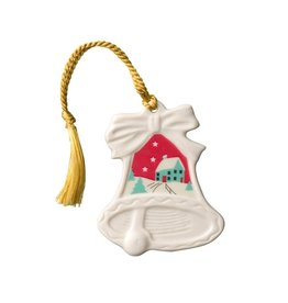 ORNAMENTS BELLEEK CHRISTMAS SCENE BELL ORNAMENT