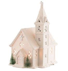 HOLIDAY BELLEEK LIVING CHURCH LAMP