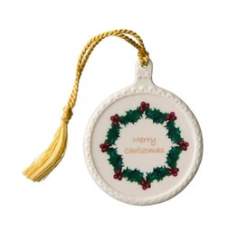 ORNAMENTS BELLEEK 'MERRY CHRISTMAS' ORNAMENT