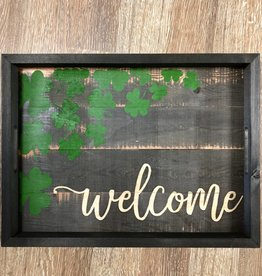 DECOR WOODEN WELCOME SHAMROCK TRAY