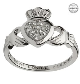 RINGS SHANORE STERLING CLADDAGH with WHITE SWAROVSKI CRYSTALS