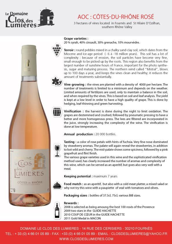 Domaine le Clos des Lumieres Cotes du Rhone Rose 1.5L