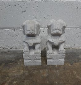Asian Marble Dog Sculpture Medium PAIR