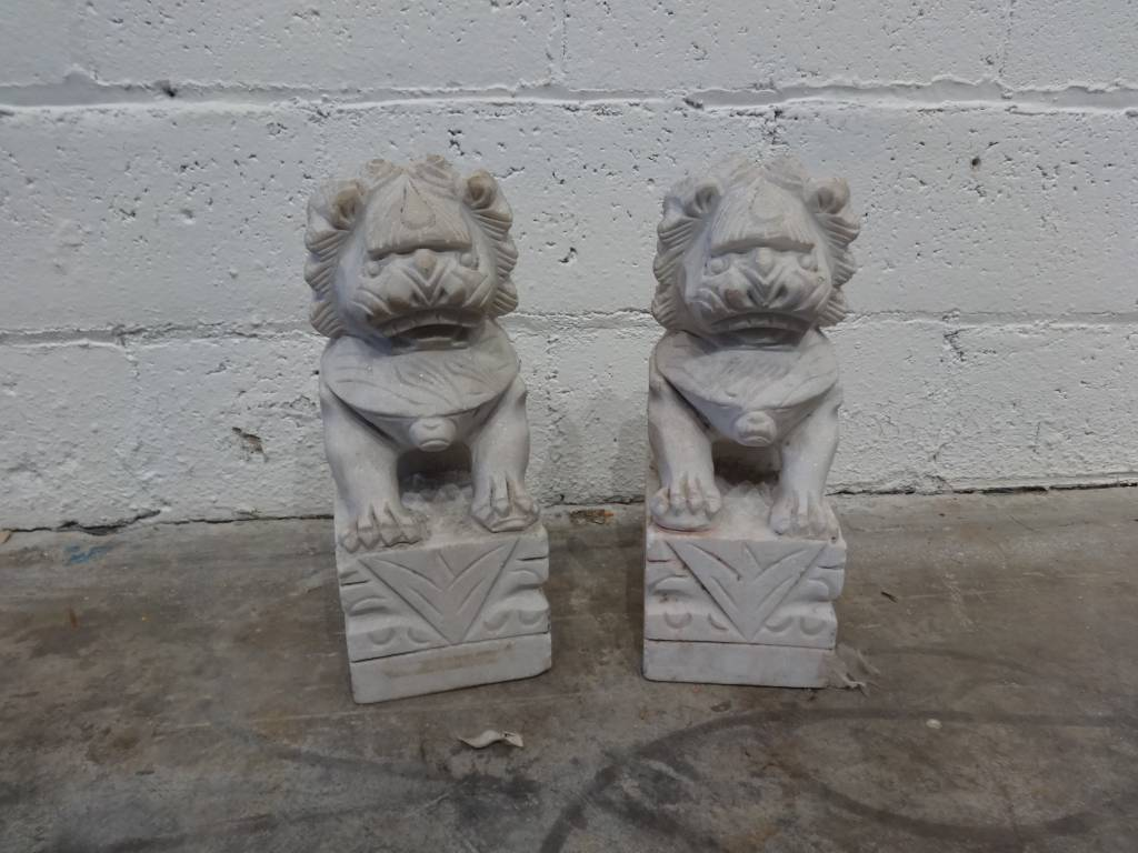 Asian Marble Dog Sculpture Dog Large PAIR