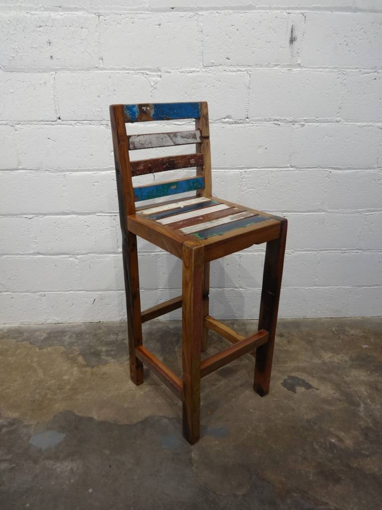 Slat Teak Bar Stool