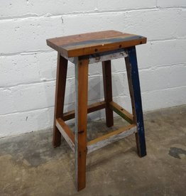 Backless Teak Bar Stool