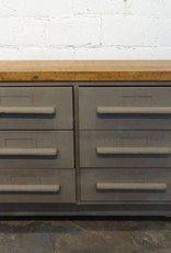 Rolling Metal Drawer Cabinet with Wooden Top