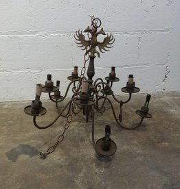Ten Light Metal Chandelier w Two Headed Bird