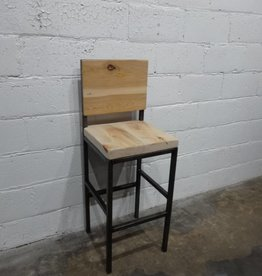 Rustic Bar Stool with Back