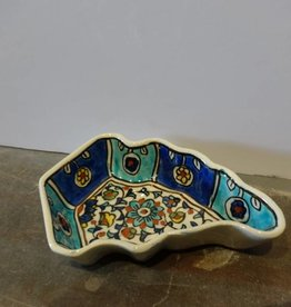 Hand Crafted Blue Green Leaf Bowl