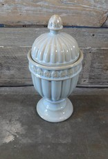 Light Blue & Gold Urn w Lid / Vase