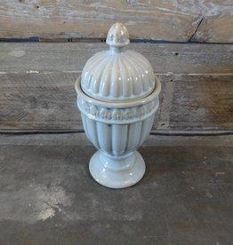 Light Blue & Gold Urn w Lid / Vase