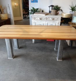 Reclaimed Wood Dining Table Top w Industrial Base