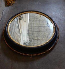 """Vintage Round Black & Gold Mirror 24"""" diameter"""