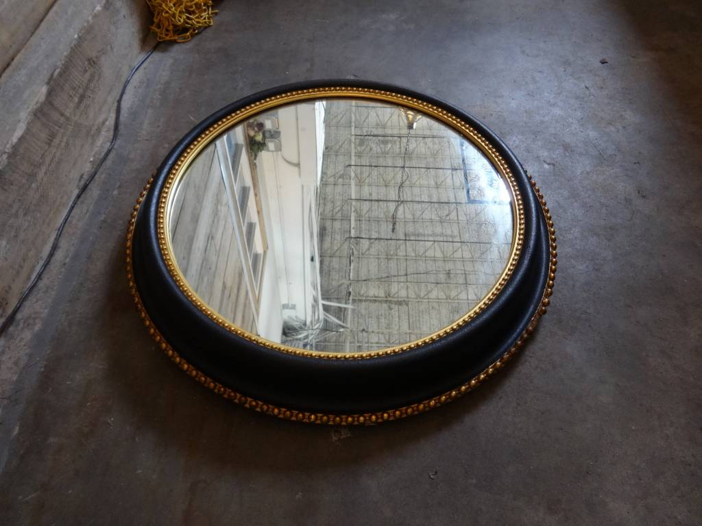 "Vintage Round Black & Gold Mirror 24"" diameter"