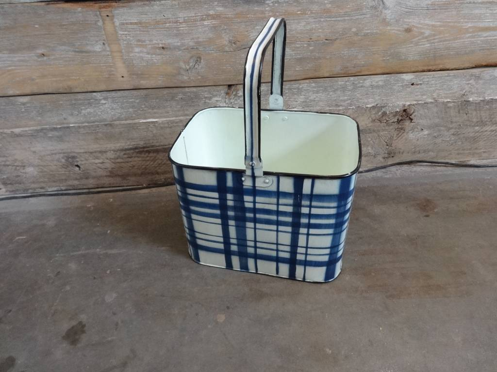 Blue & White Plaid Rectangular Metal Bucket