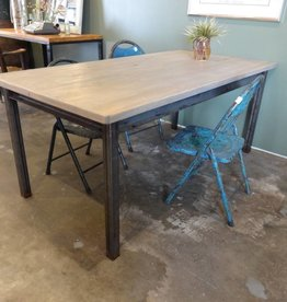 Grey Cypress Dining Table w Industrial Base