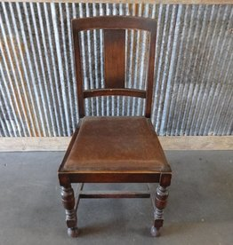 Wooden Dining Chair w Brown Leather Seat