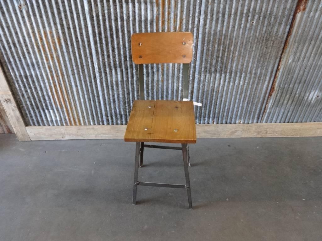 Vintage Metal & Wood Industrial Chair