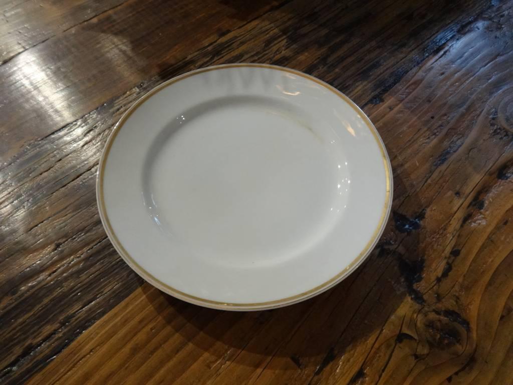 "8.5"" White China Plate w Gold Rim"