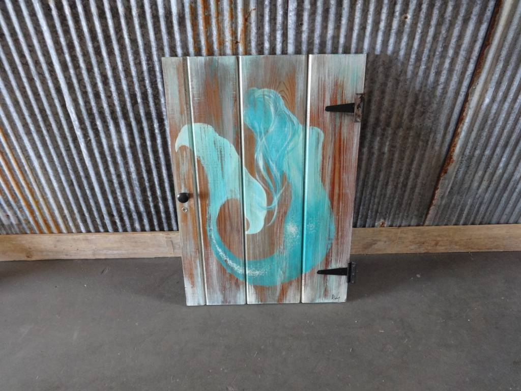 Mermaid Painting on Medium Wooden Door