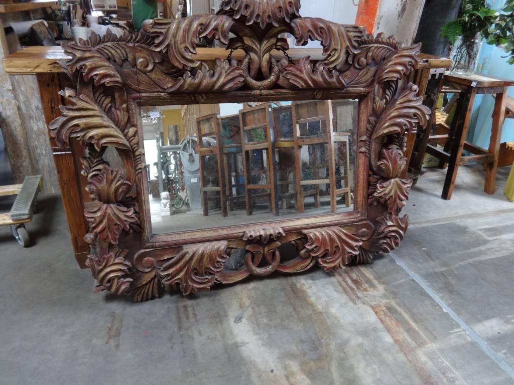Ornate Carved Teak Mirror