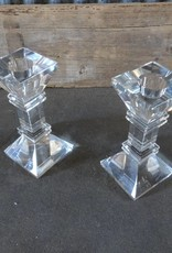 Square Glass Candle Stick SET